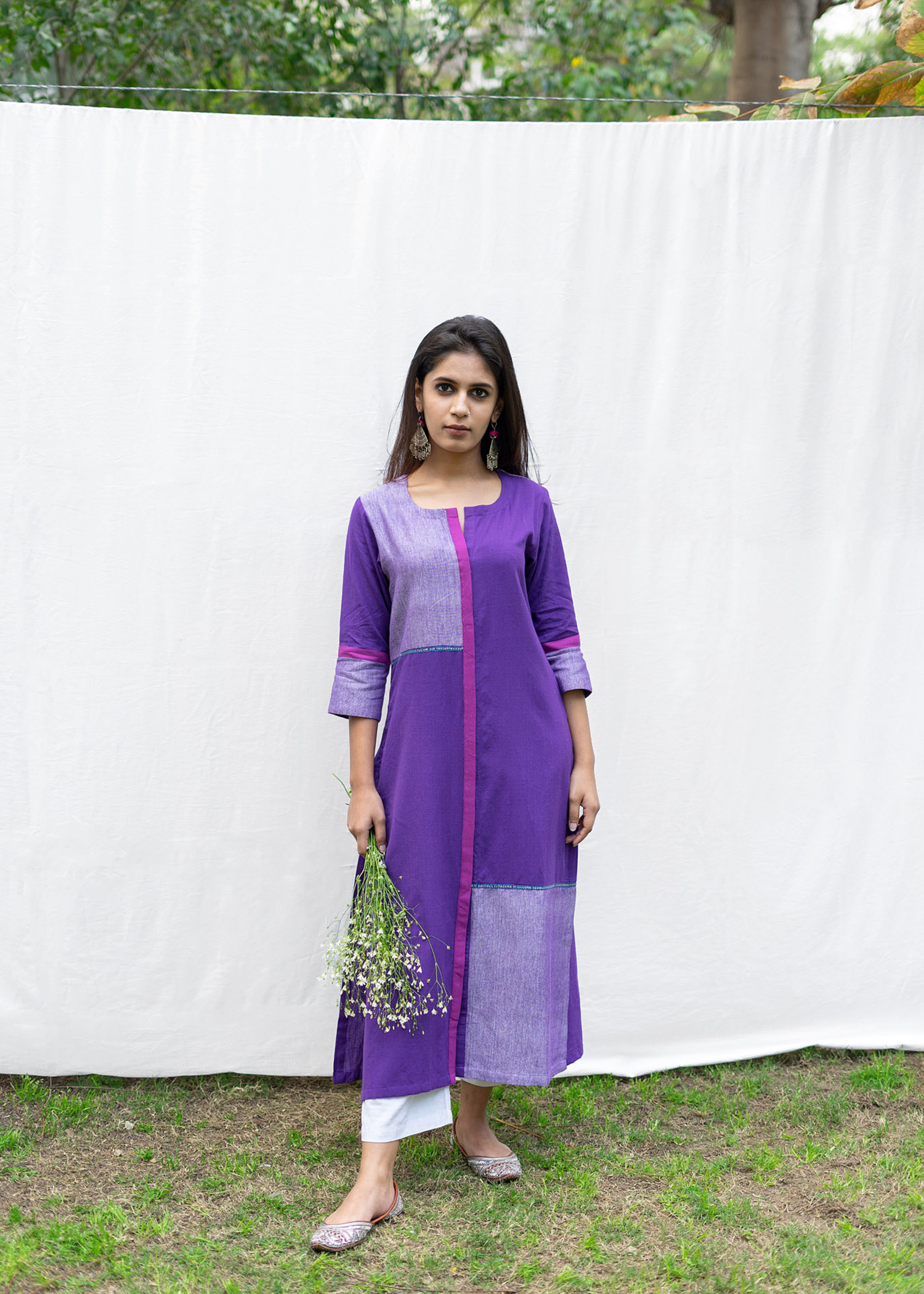 Purple Block & Line Kurta
